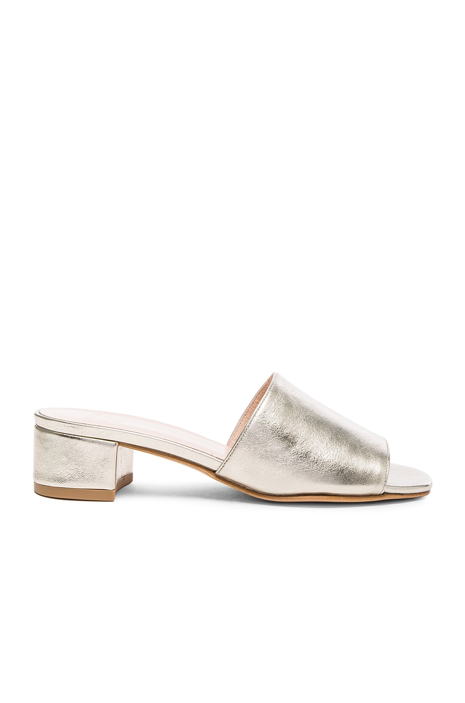 Image 1 of Maryam Nassir Zadeh Leather Sophie Slides in Prosecco Metallic