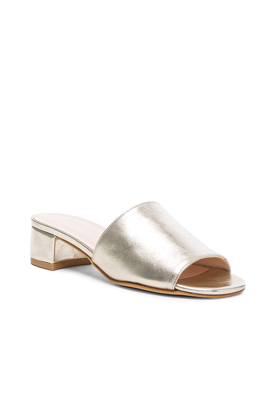 Image 2 of Maryam Nassir Zadeh Leather Sophie Slides in Prosecco Metallic