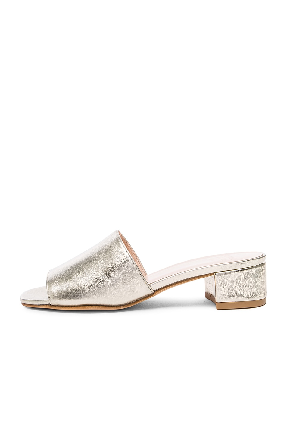 Image 5 of Maryam Nassir Zadeh Leather Sophie Slides in Prosecco Metallic