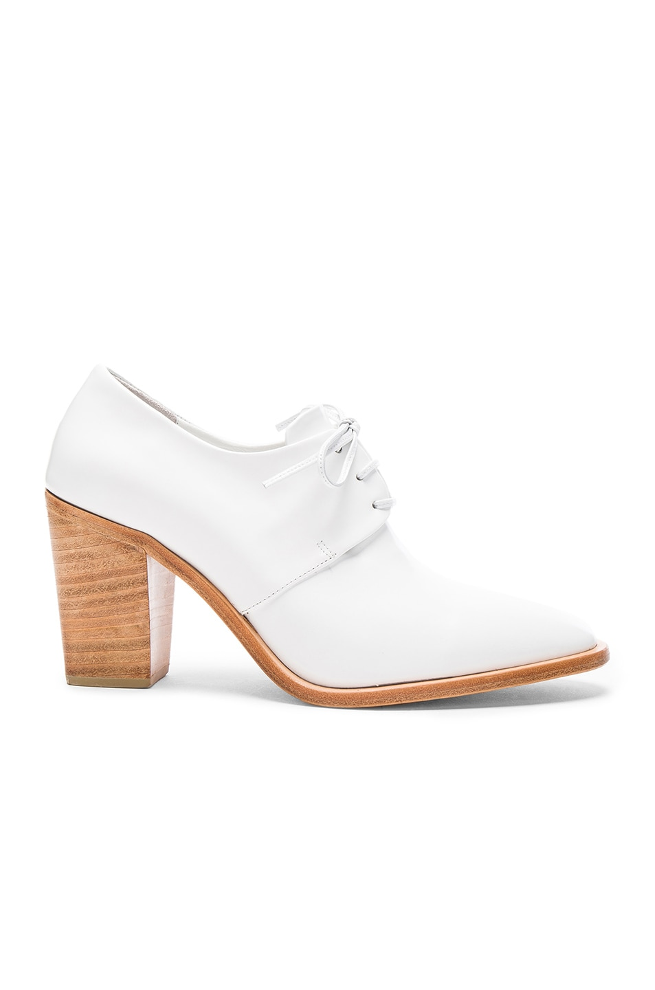 Image 1 of Maryam Nassir Zadeh Leather Flavia Heeled Loafers in White Shine