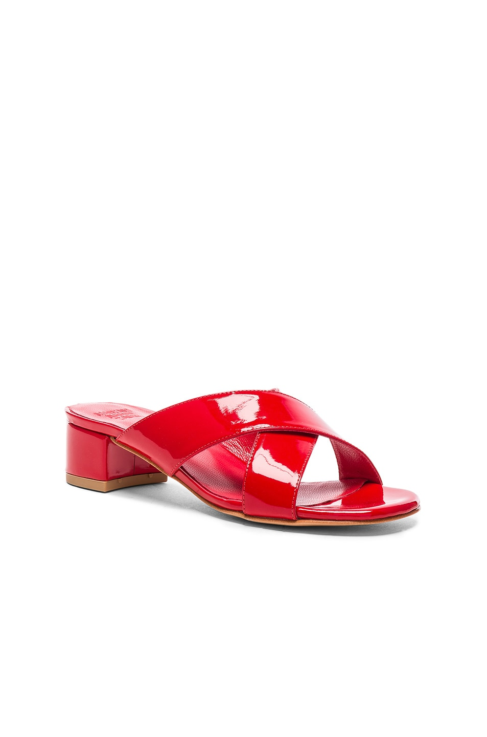 Image 2 of Maryam Nassir Zadeh Patent Leather Lauren Slide Heels in Poppy Patent
