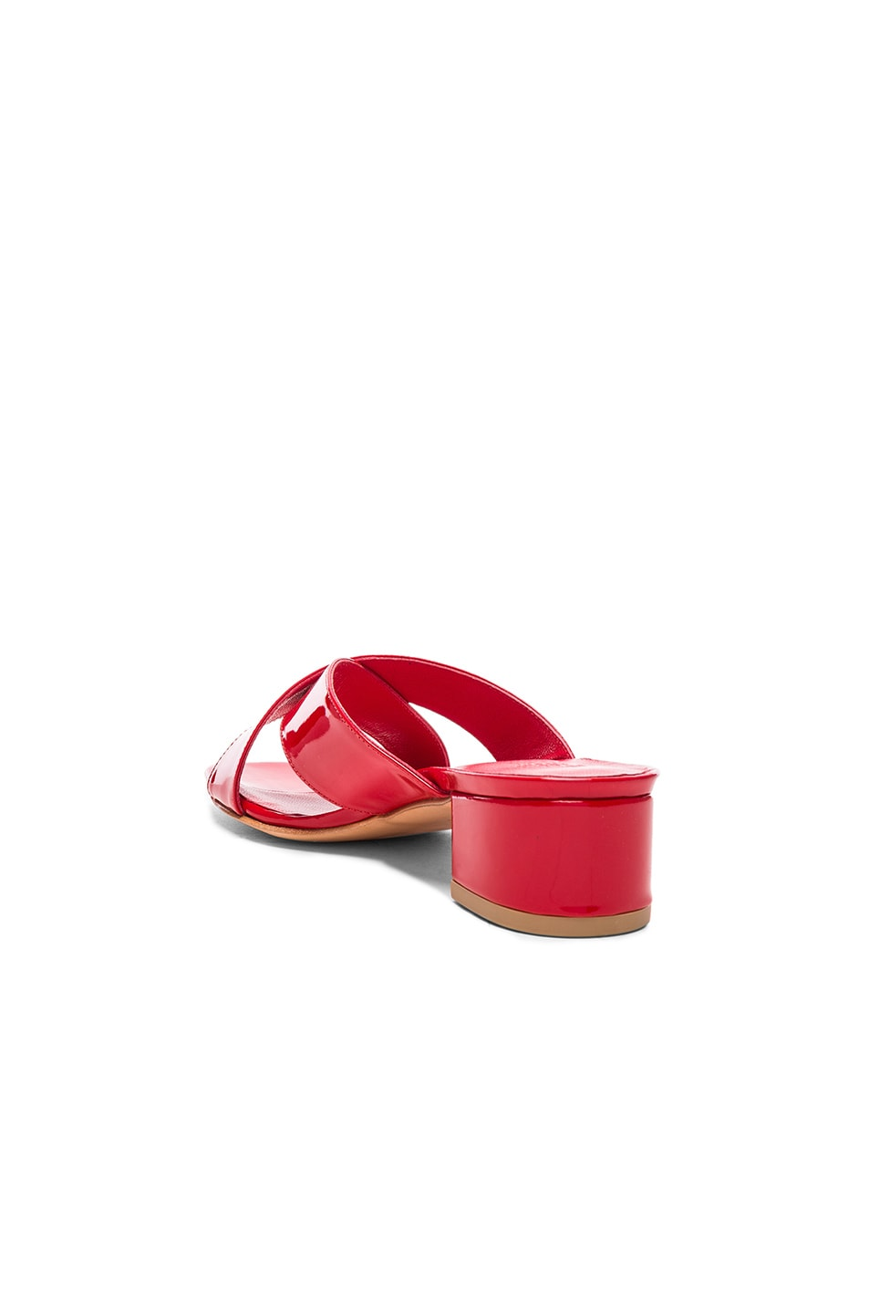 Image 3 of Maryam Nassir Zadeh Patent Leather Lauren Slide Heels in Poppy Patent