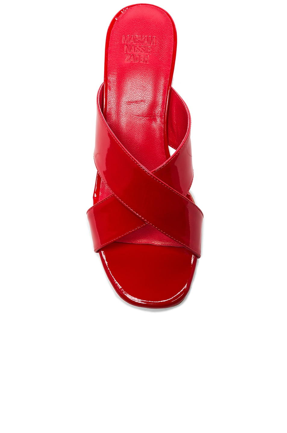 Image 4 of Maryam Nassir Zadeh Patent Leather Lauren Slide Heels in Poppy Patent