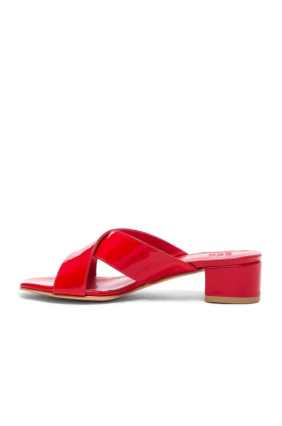 Image 5 of Maryam Nassir Zadeh Patent Leather Lauren Slide Heels in Poppy Patent