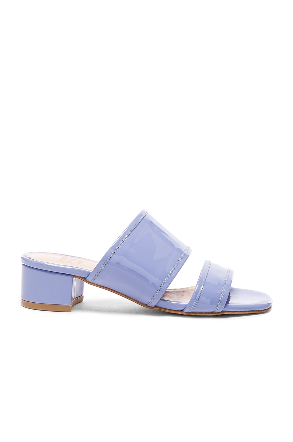 Image 1 of Maryam Nassir Zadeh Patent Leather Martina Slide Sandals in Periwinkle Patent