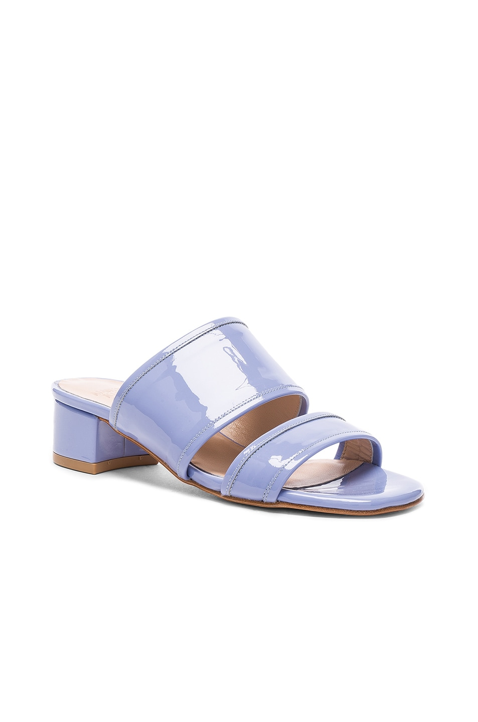 Image 2 of Maryam Nassir Zadeh Patent Leather Martina Slide Sandals in Periwinkle Patent