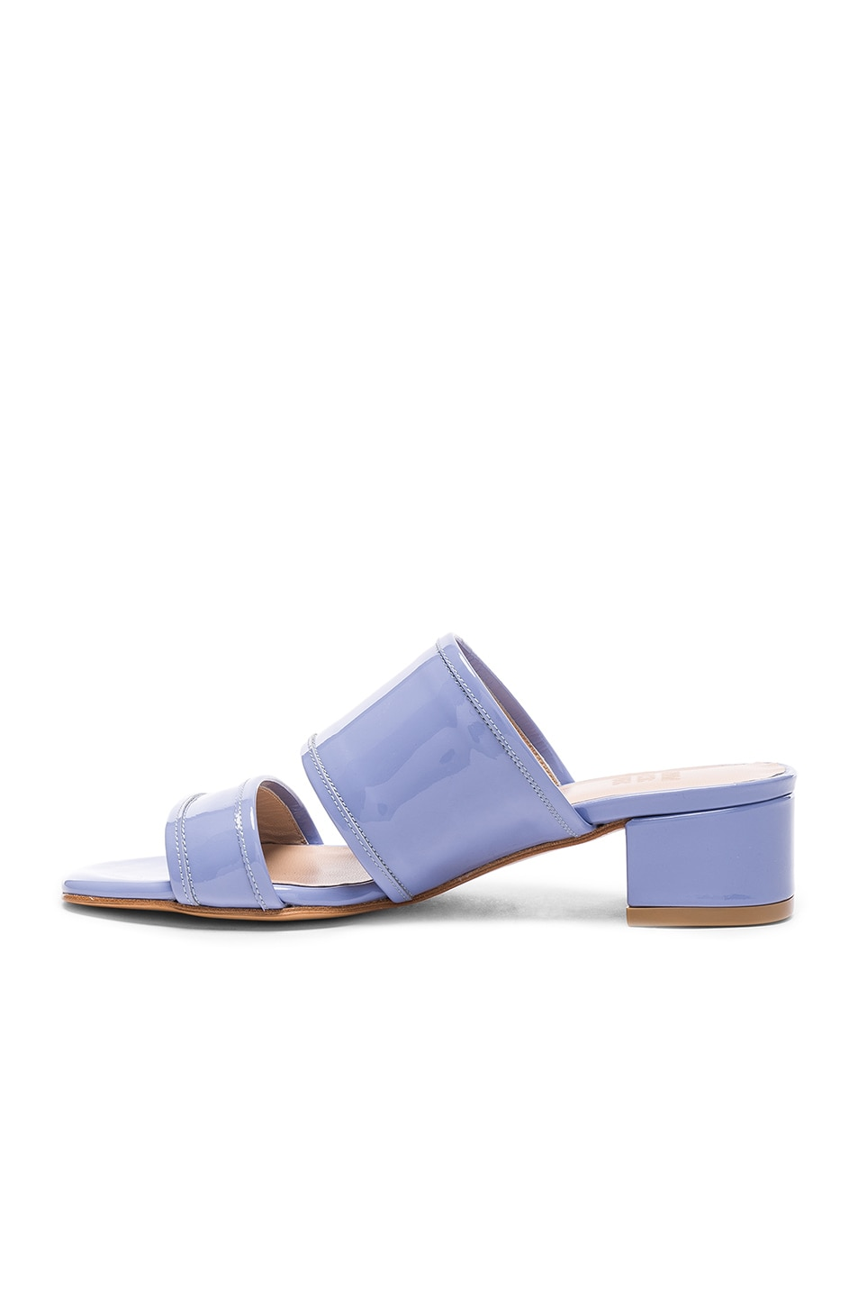 Image 5 of Maryam Nassir Zadeh Patent Leather Martina Slide Sandals in Periwinkle Patent