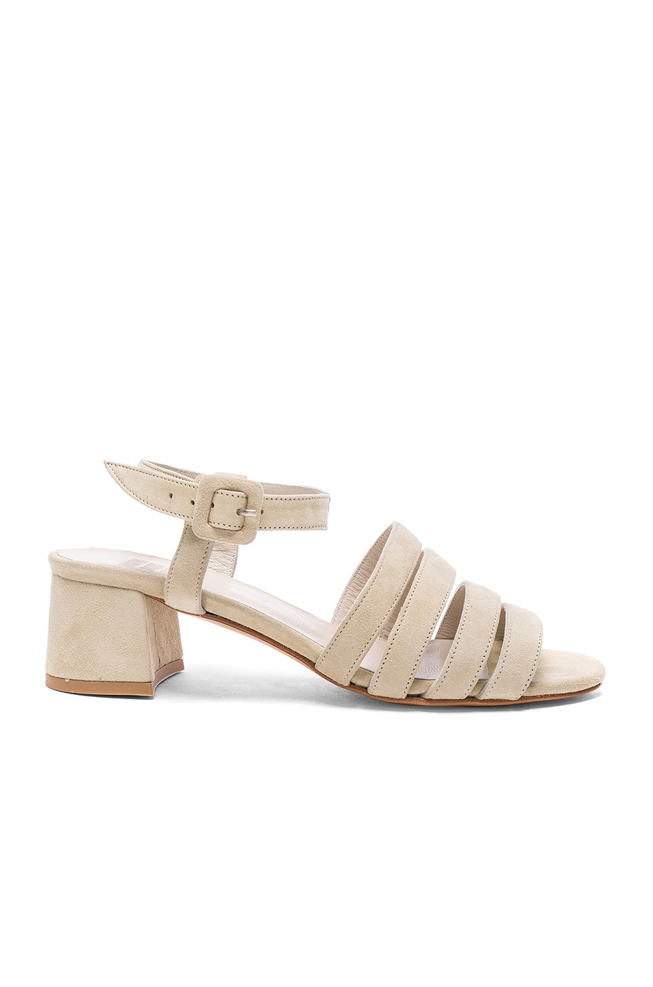 Image 1 of Maryam Nassir Zadeh Suede Palma Low Sandals in Chalk Suede