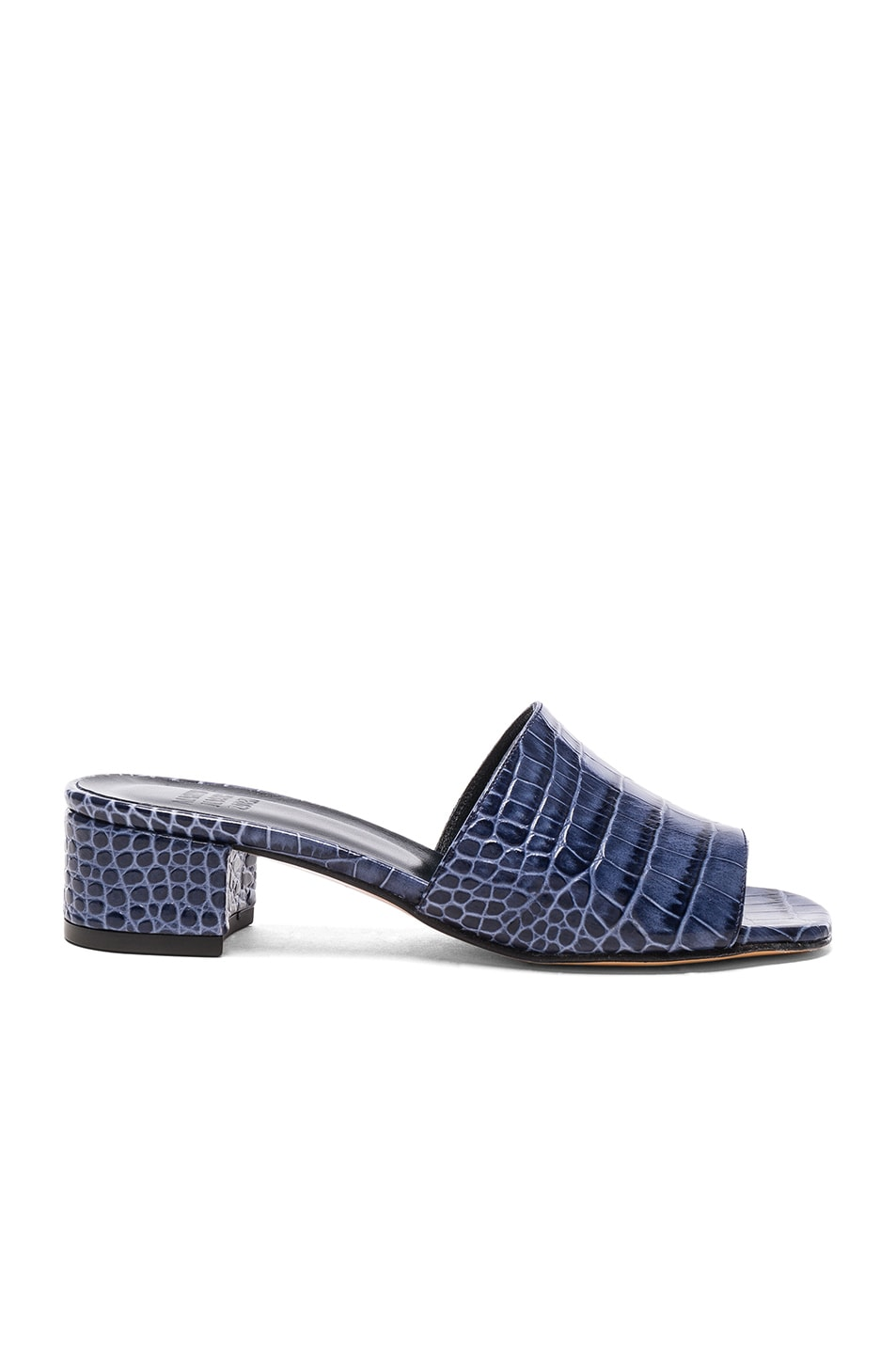 Image 1 of Maryam Nassir Zadeh Leather Sophie Slide Heels in Navy Faux Croc
