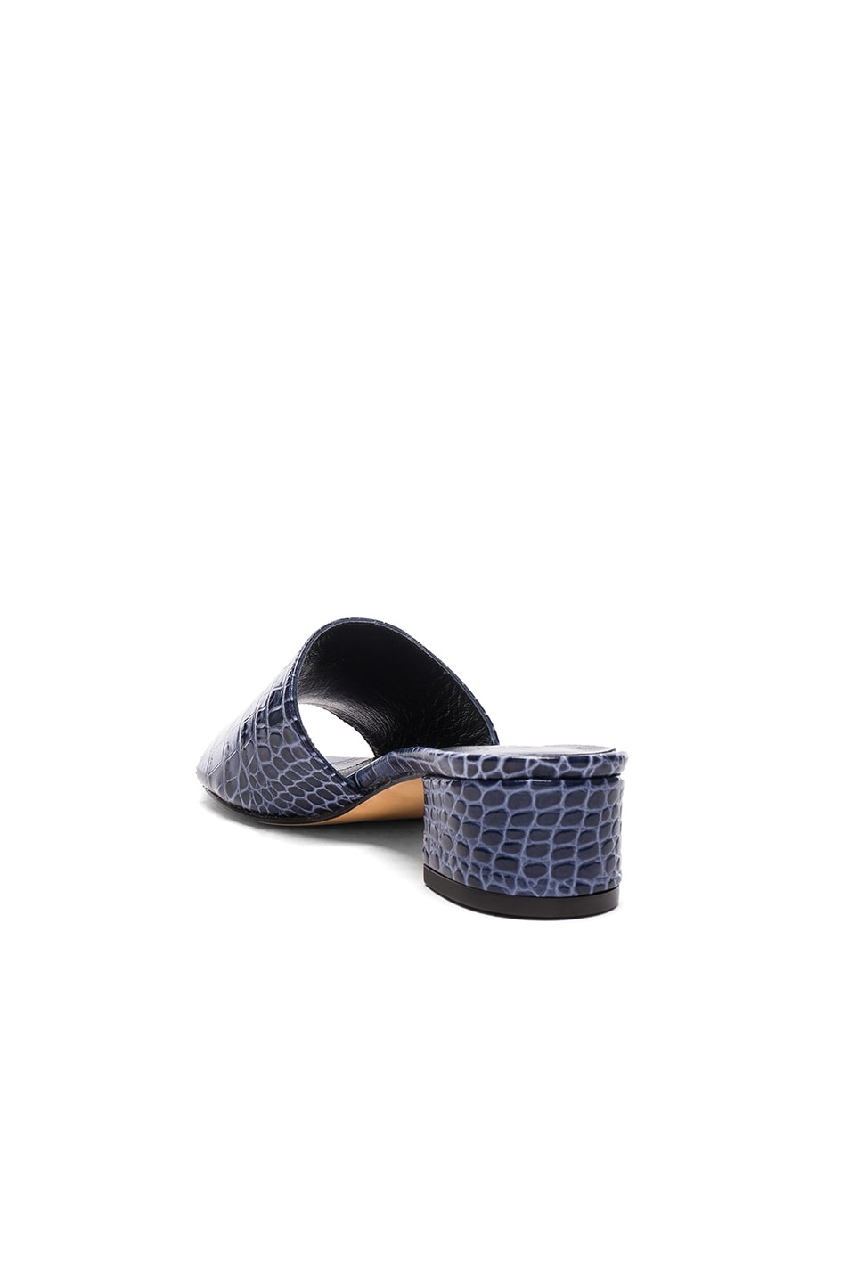 Image 3 of Maryam Nassir Zadeh Leather Sophie Slide Heels in Navy Faux Croc