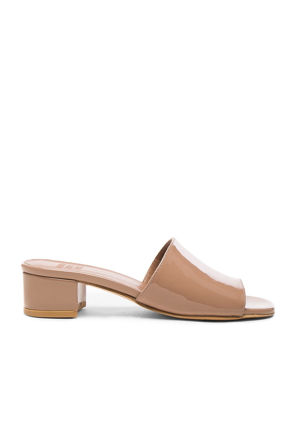 Image 1 of Maryam Nassir Zadeh Patent Leather Sophie Slide Heels in Taupe Patent