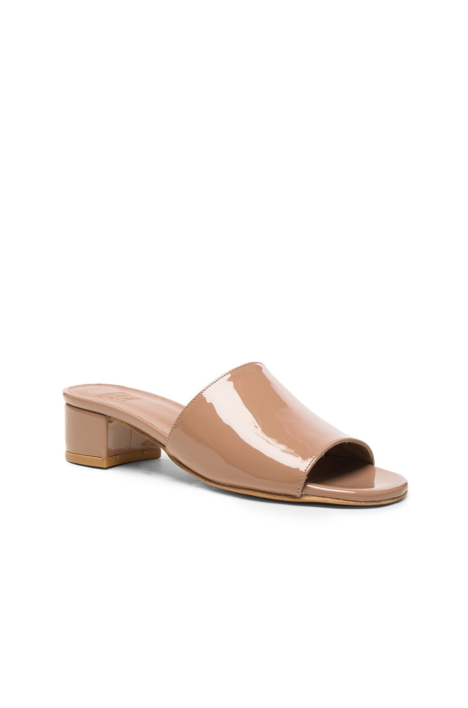 Image 2 of Maryam Nassir Zadeh Patent Leather Sophie Slide Heels in Taupe Patent