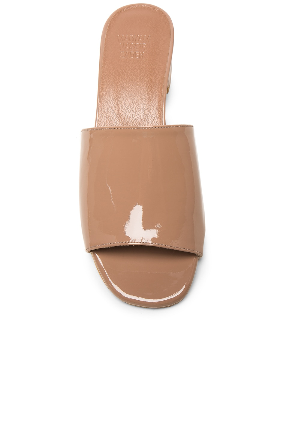 Image 4 of Maryam Nassir Zadeh Patent Leather Sophie Slide Heels in Taupe Patent