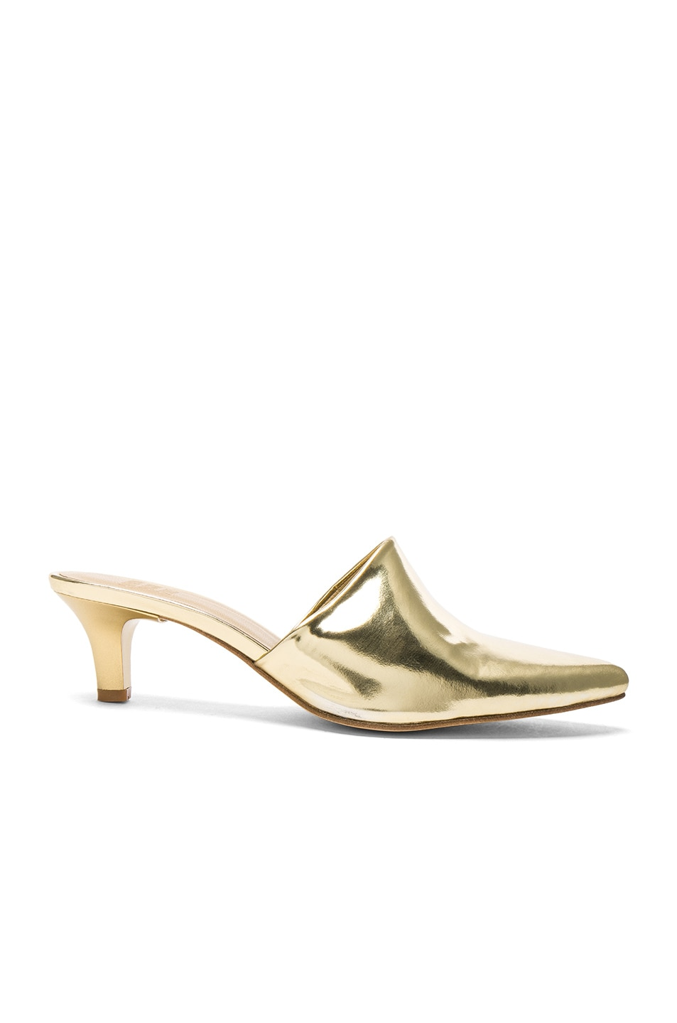 Image 1 of Maryam Nassir Zadeh Leather Andrea Mules in Gold Metallic