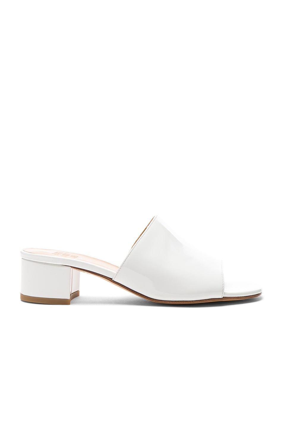 Image 1 of Maryam Nassir Zadeh Patent Leather Sophie Slides in White Patent