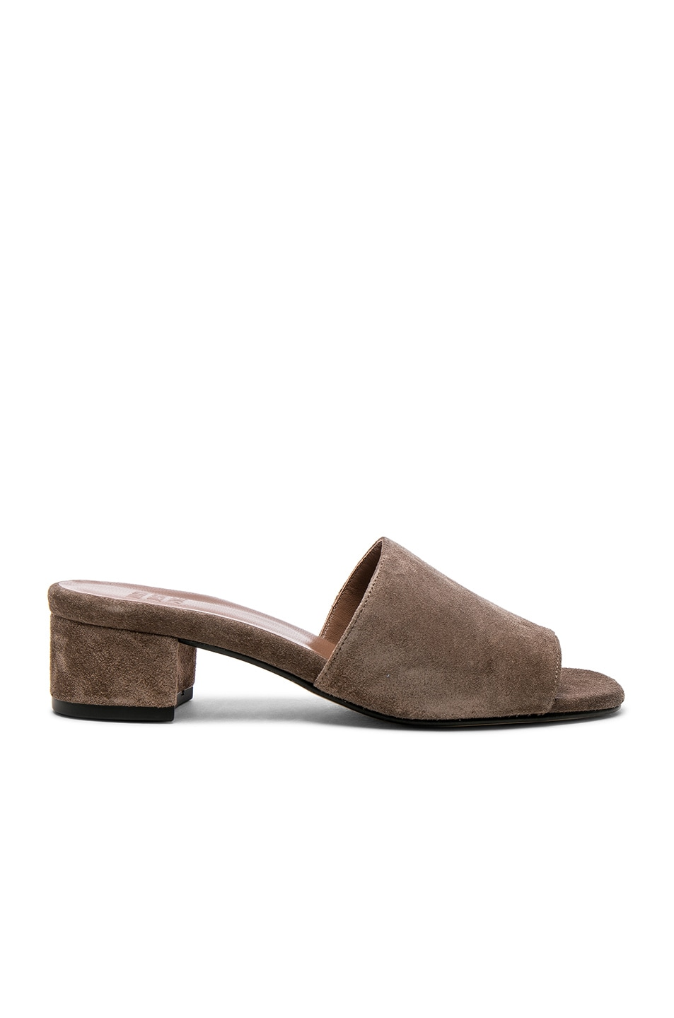 Image 1 of Maryam Nassir Zadeh for FWRD Suede Sophie Slides in Ash Suede