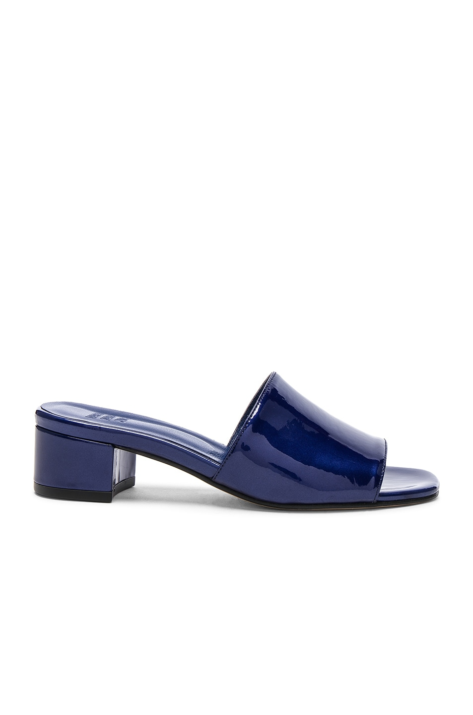 Image 1 of Maryam Nassir Zadeh Patent Leather Sophie Slides in Blue Sparkle