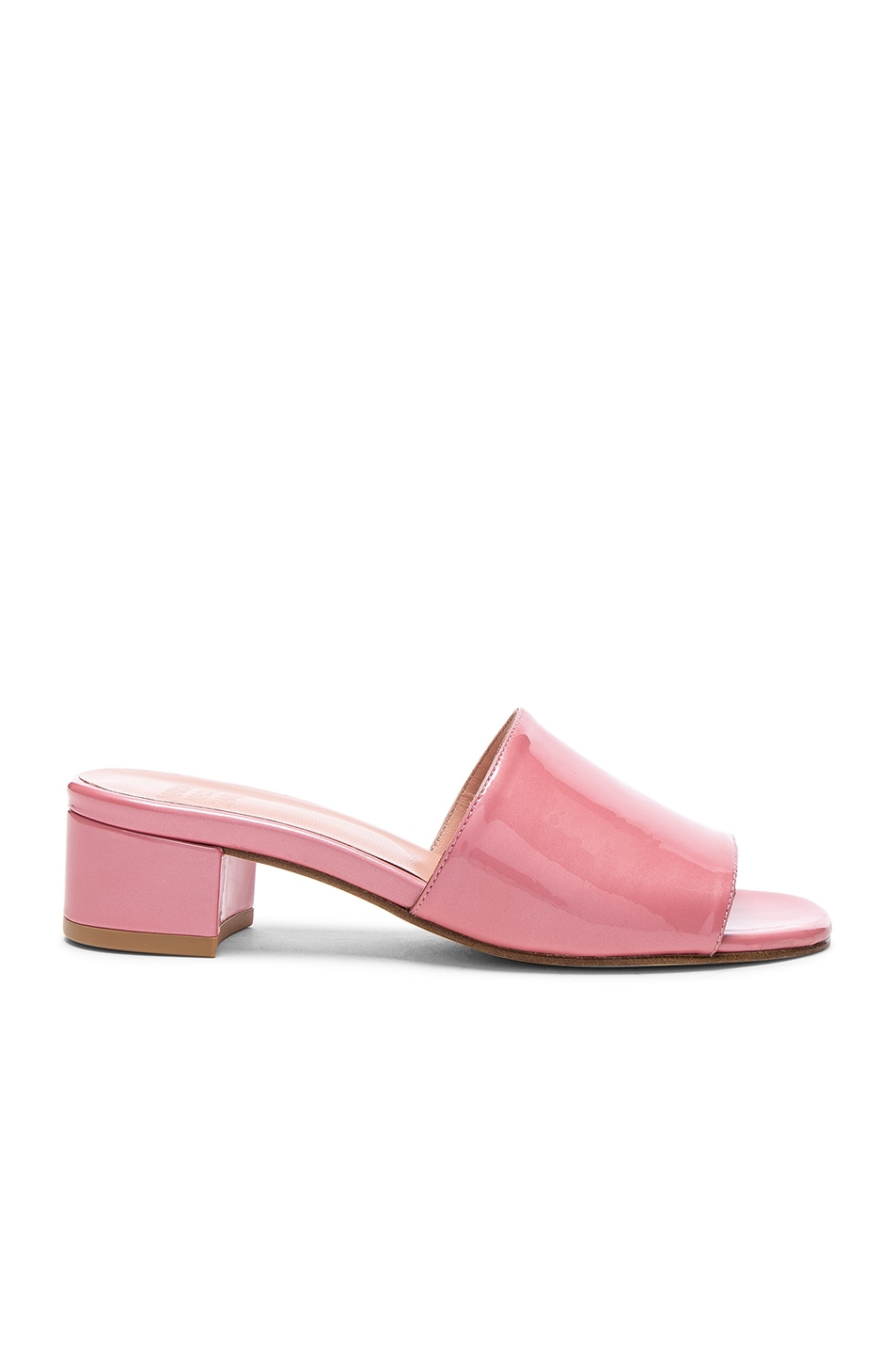 Image 1 of Maryam Nassir Zadeh Patent Leather Sophie Slides in Pink Sparkle