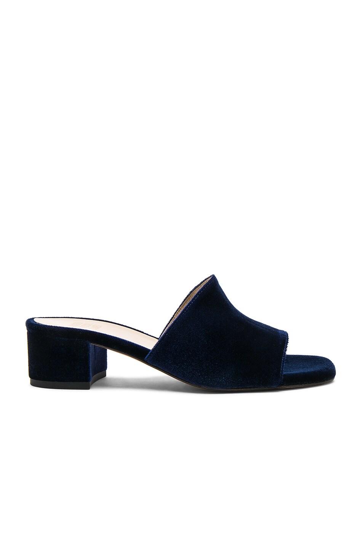 Image 1 of Maryam Nassir Zadeh Velvet Sophie Slides in Blue Velvet