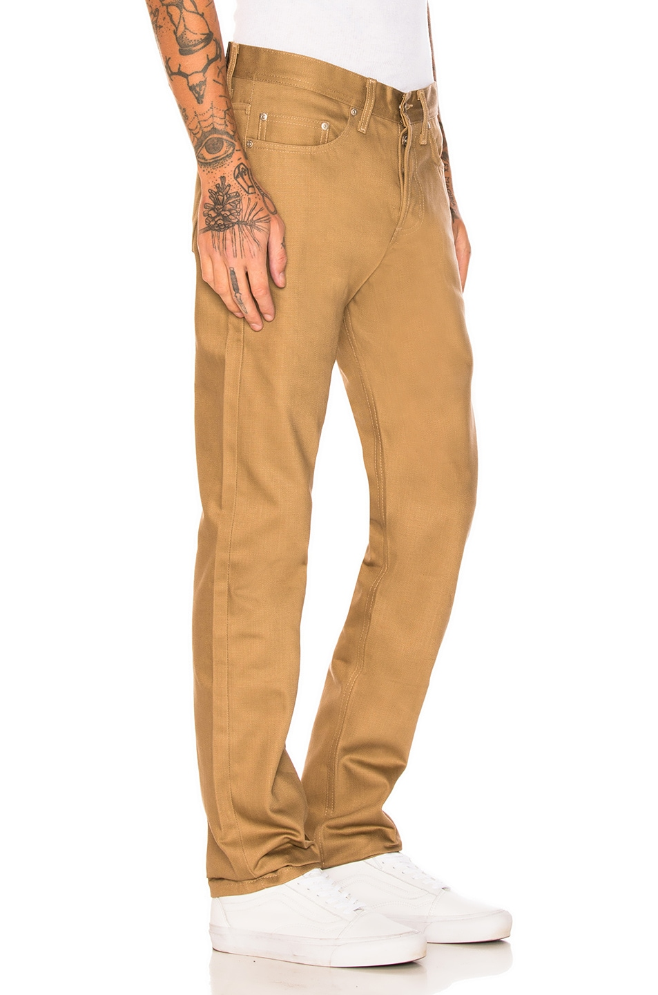 Image 2 of Naked & Famous Denim Weird Guy Selvedge Chino in Tan