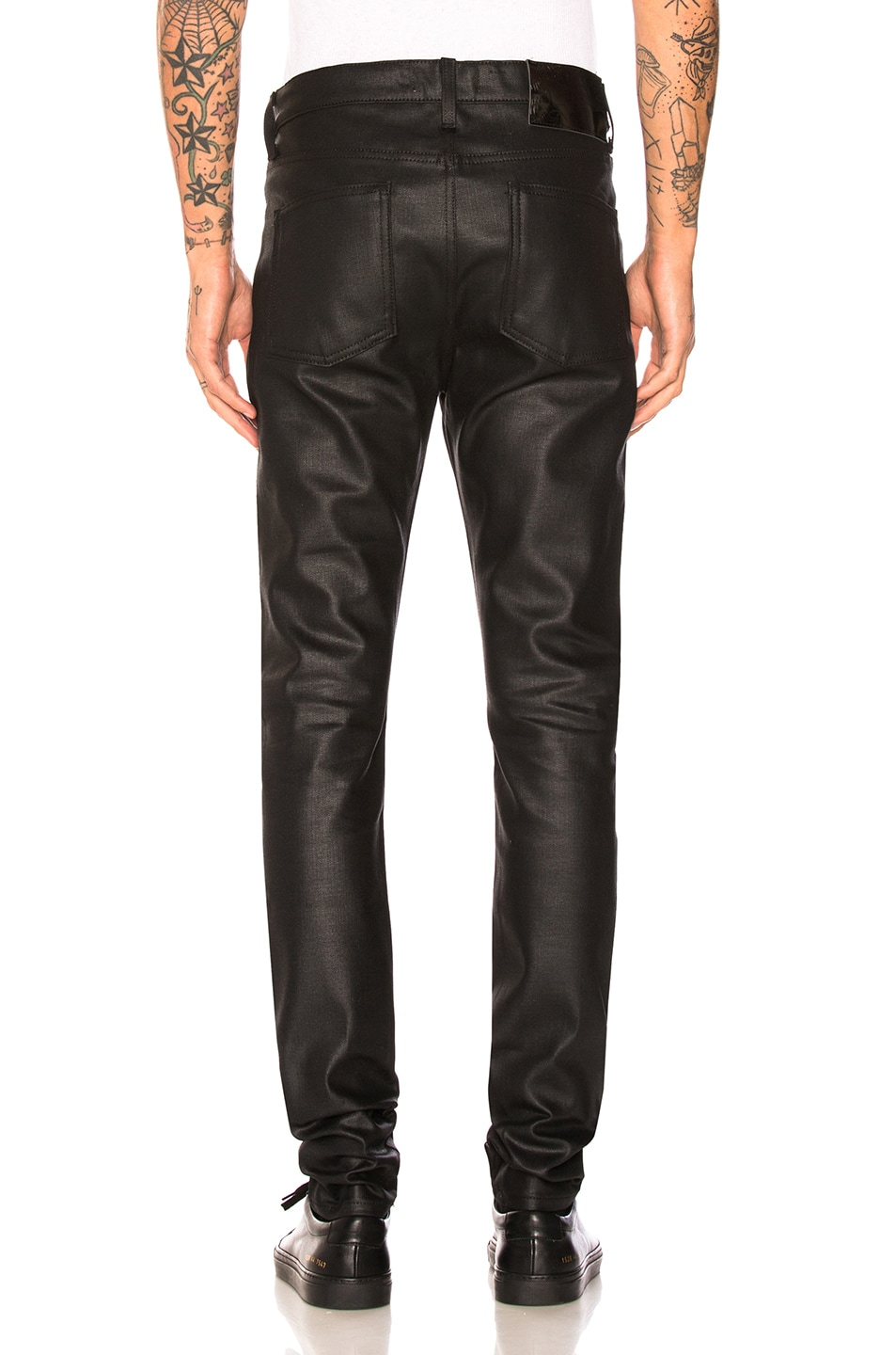 Image 3 of Naked & Famous Denim Stacked Guy 12oz Black Waxed Stretch in Black