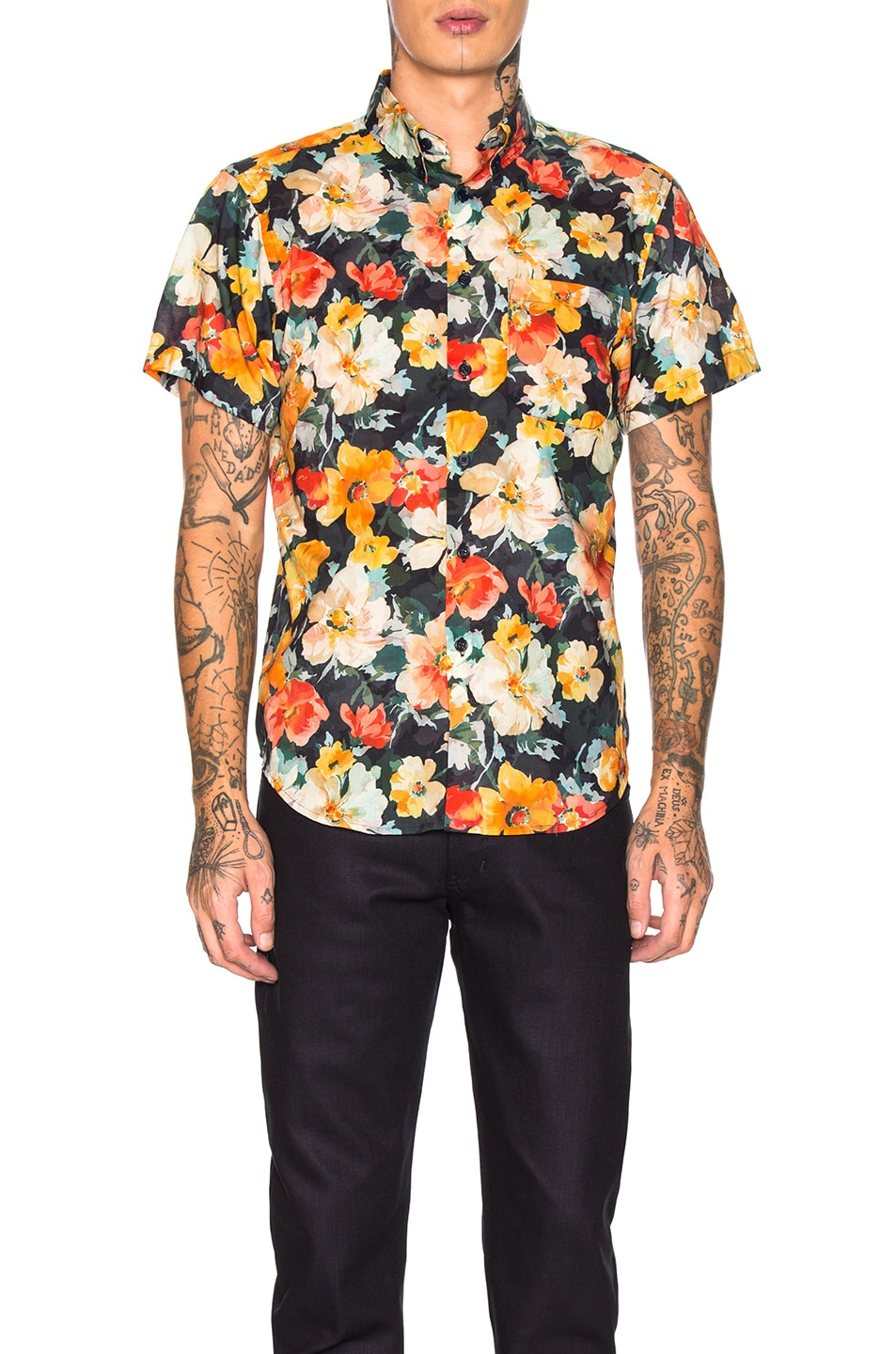 Naked And Famous  NAKED & FAMOUS DENIM SHORT SLEEVE EASY SHIRT IN FLOWER PAINTING & ORANGE