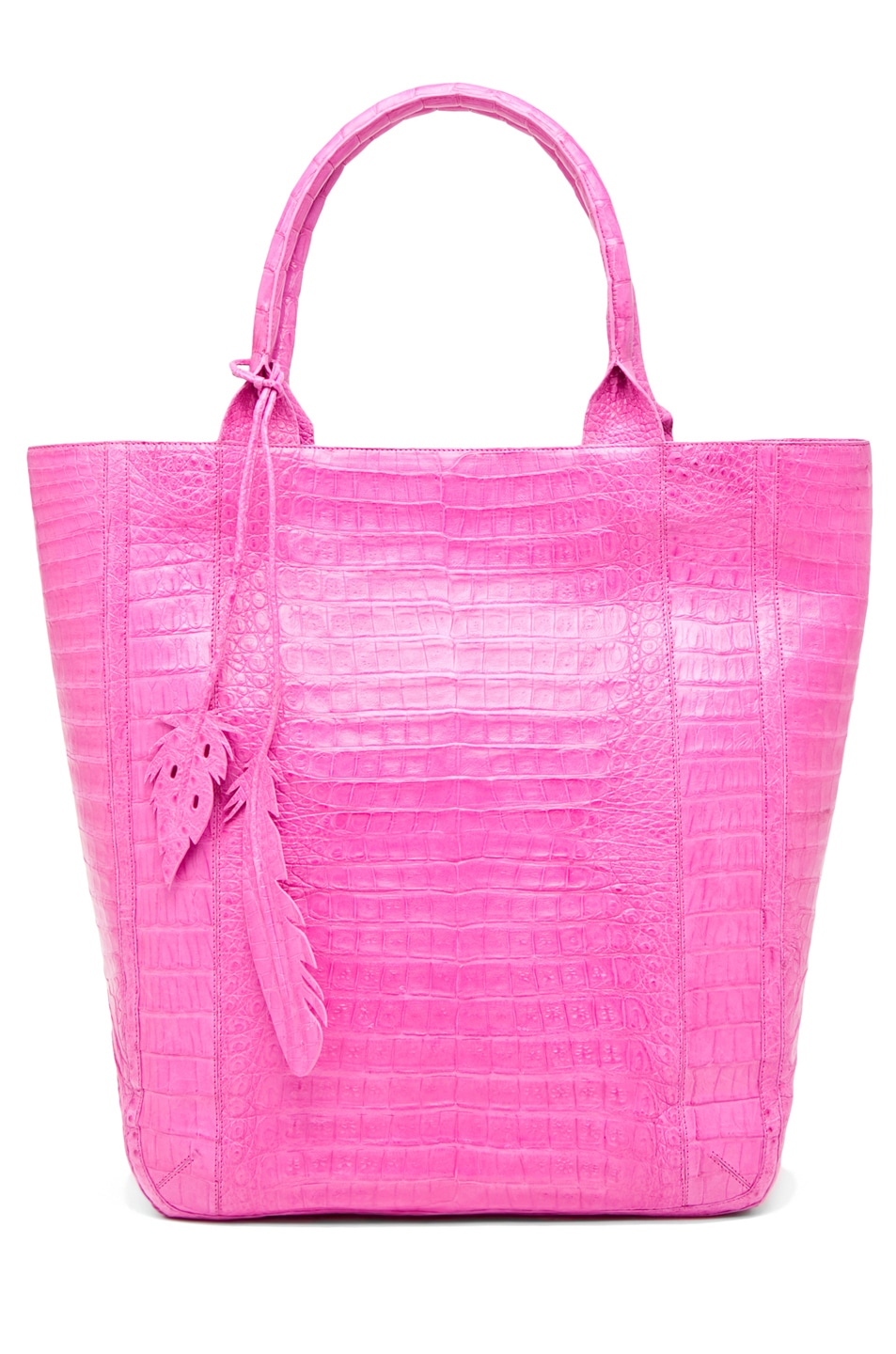 Image 1 of Nancy Gonzalez Crocodile Leaf Tote in Fuchsia
