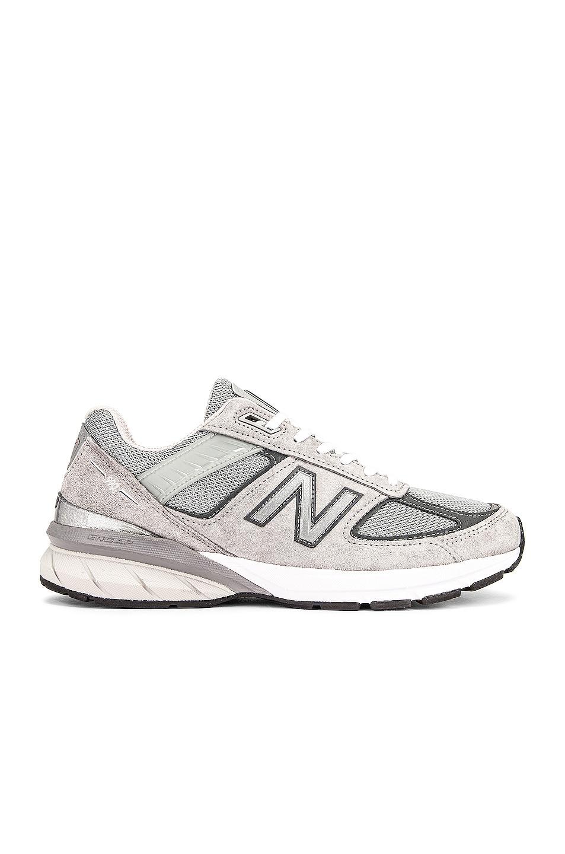 Image 1 of New Balance 990v5 Sneakers in Grey & Castlerock Pig Suede