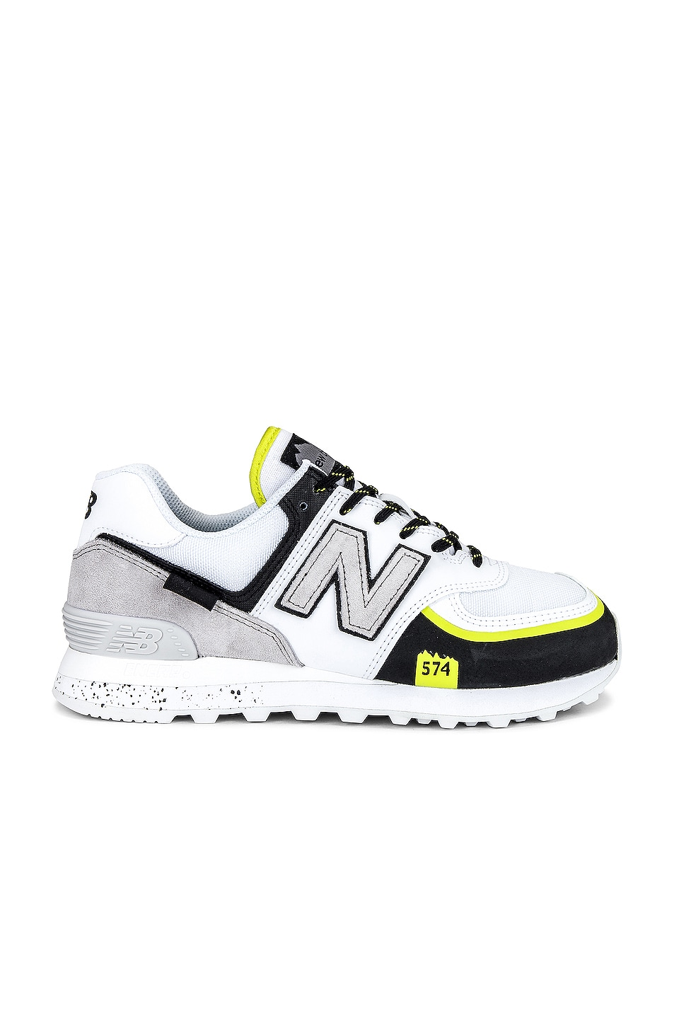 Image 1 of New Balance 574 Sneakers in White & Black