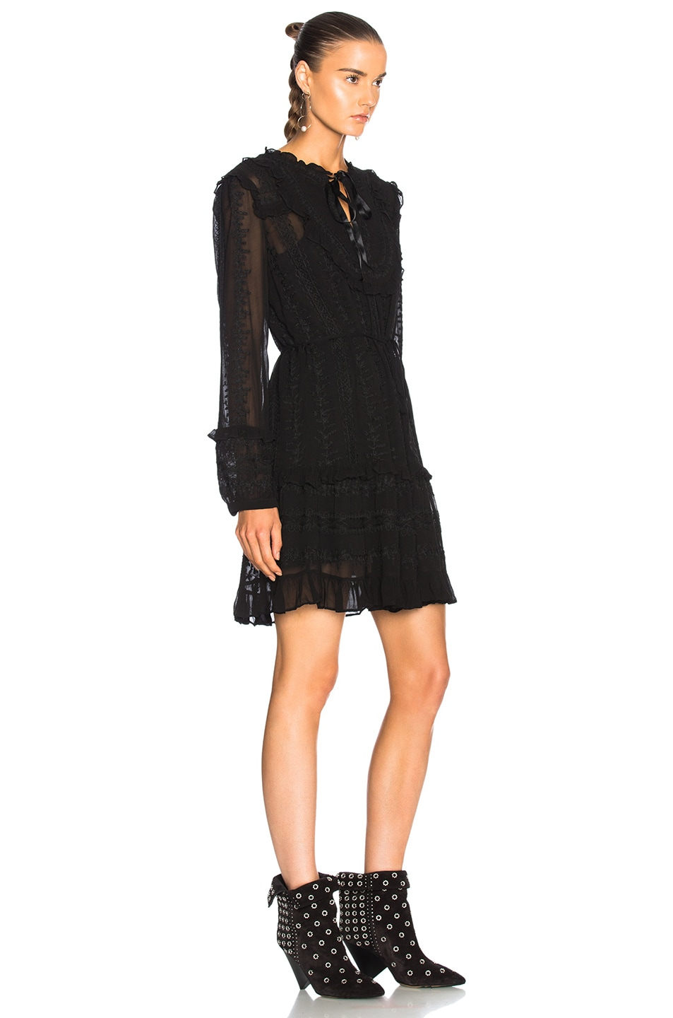 a7aca97dd638af Image of needle thread rose chain dress in washed black jpg 953x1440 Rose  chain dress