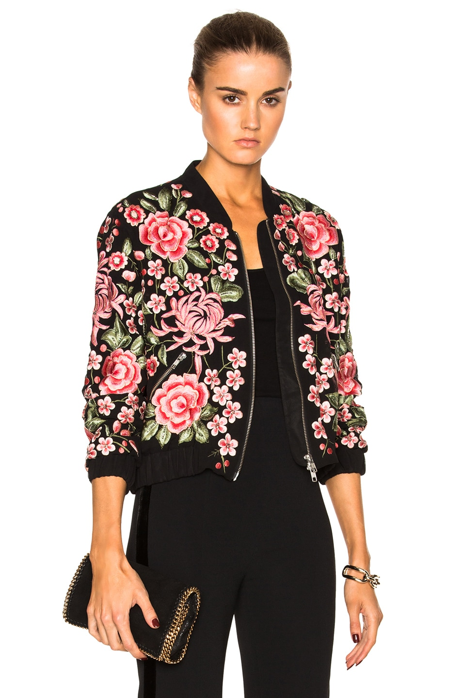 81ac9824f Needle & Thread Embroidered Rose Bomber in Washed Black | FWRD