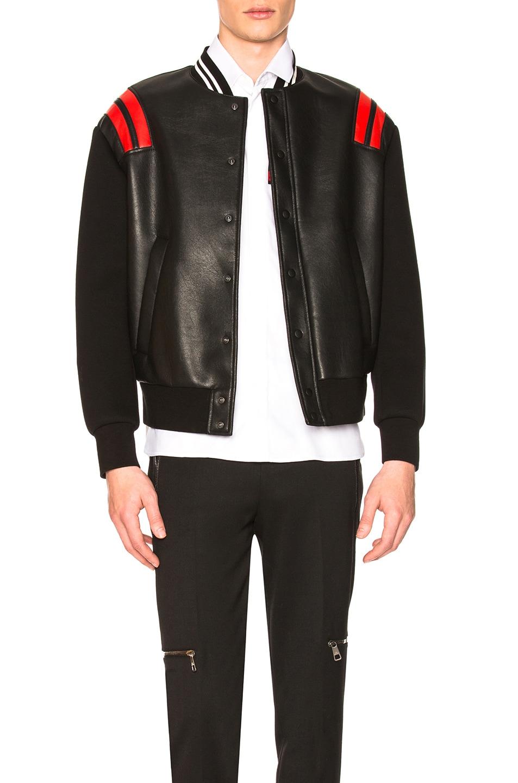 Image 1 of Neil Barrett Varsity Jacket in Black & Red