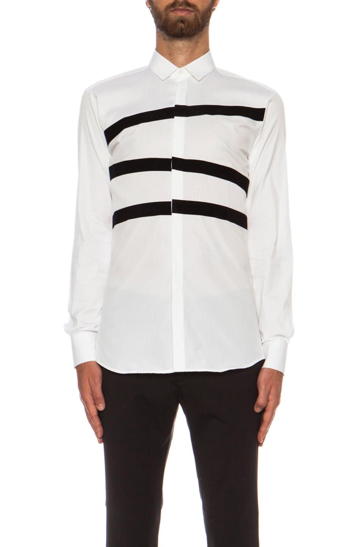 Neil barrett banded tuxedo cotton shirt in white black for Neil barrett tuxedo shirt