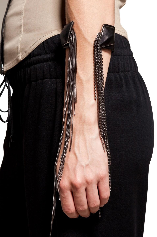 Image 1 of Neil Barrett Leather Stone Bracelet in Old Silver