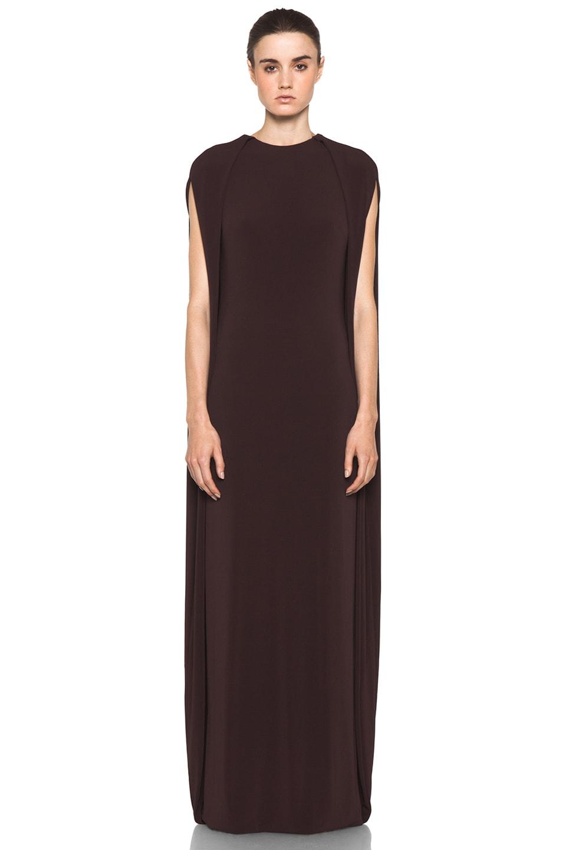 Image 1 of Neil Barrett Long Cape Dress in Bordeaux