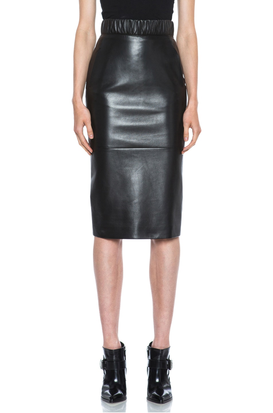 Image 1 of Neil Barrett Lambskin Leather Pencil Skirt in Black