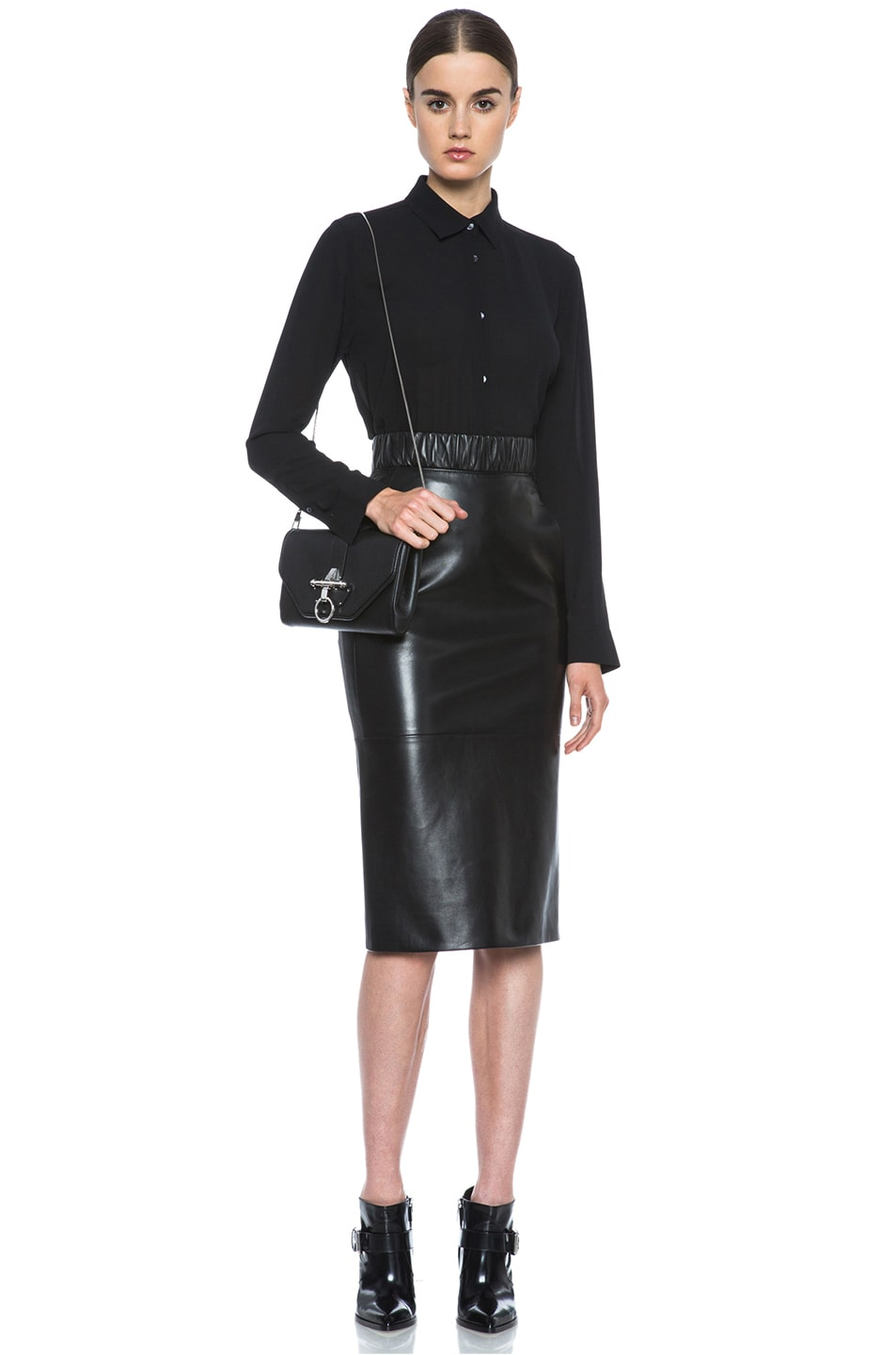 Neil Barrett Lambskin Leather Pencil Skirt in Black | FWRD
