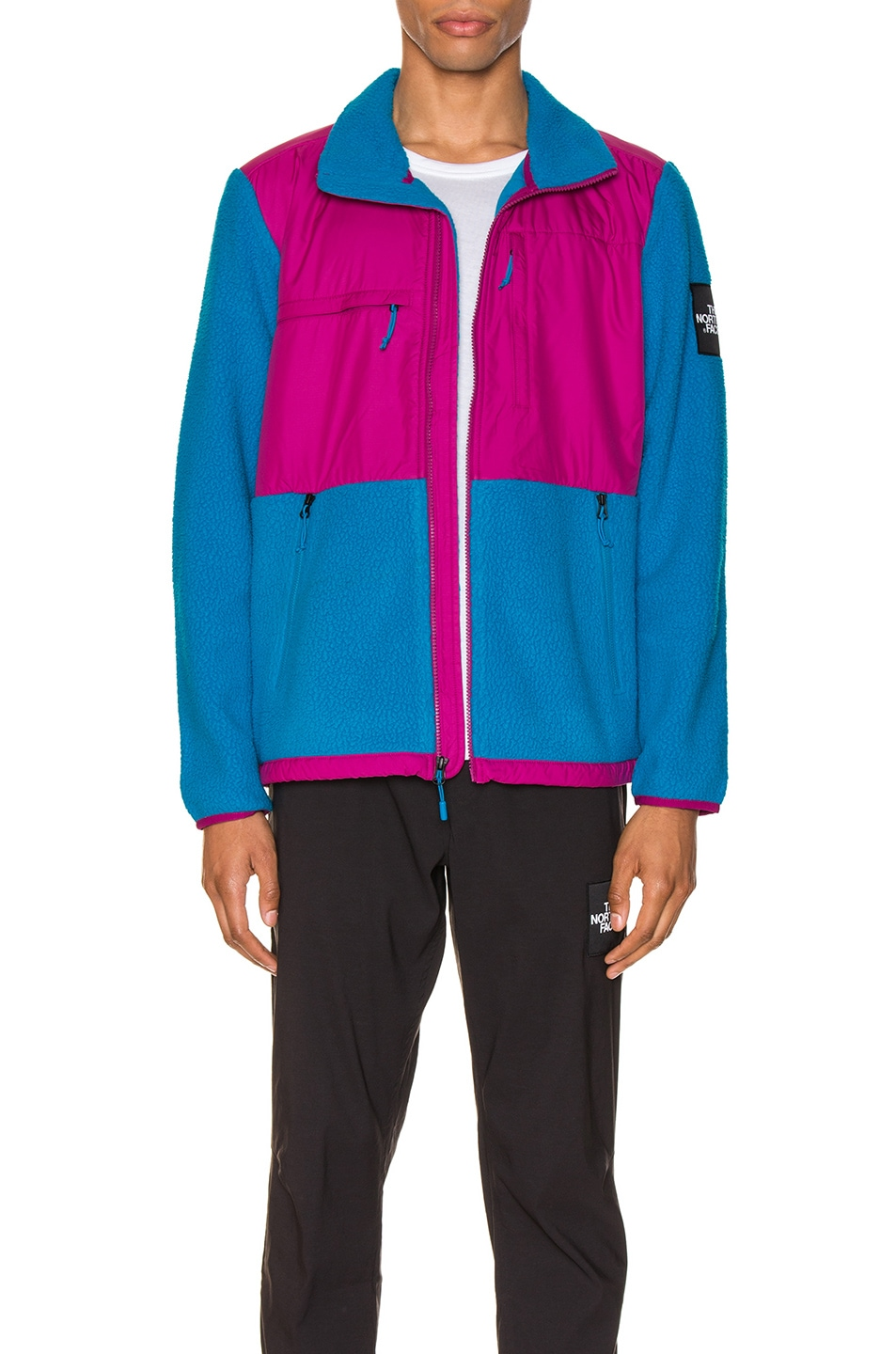 Image 1 of The North Face Black Box Denali Fleece Jacket in Acoustic Blue & Festival Pink
