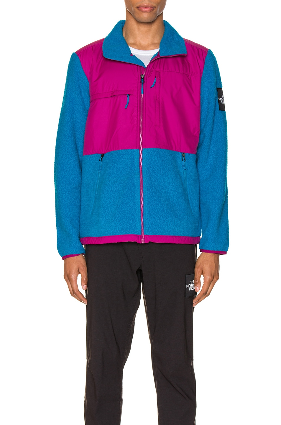 Image 2 of The North Face Black Box Denali Fleece Jacket in Acoustic Blue & Festival Pink
