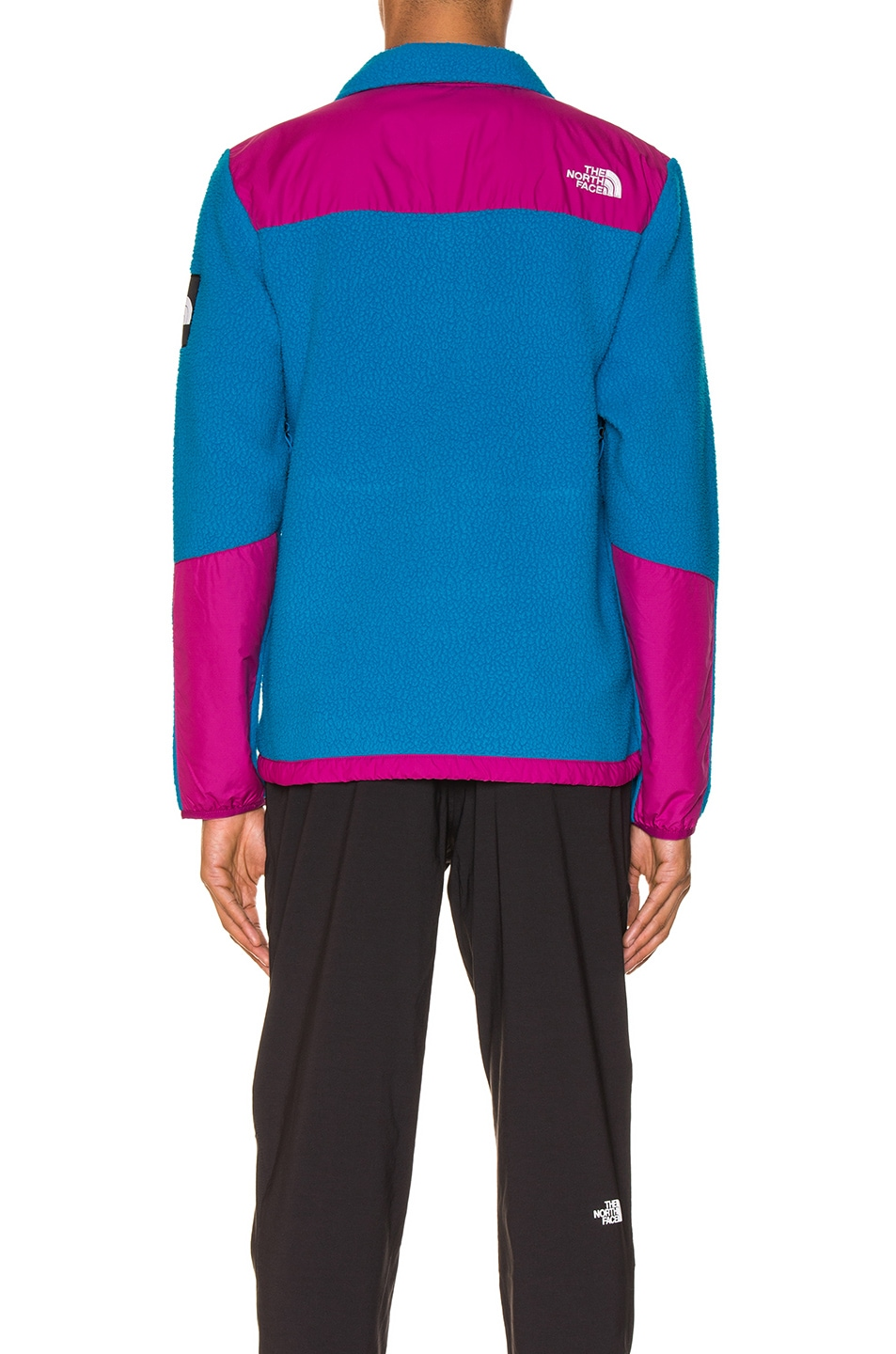 Image 5 of The North Face Black Box Denali Fleece Jacket in Acoustic Blue & Festival Pink