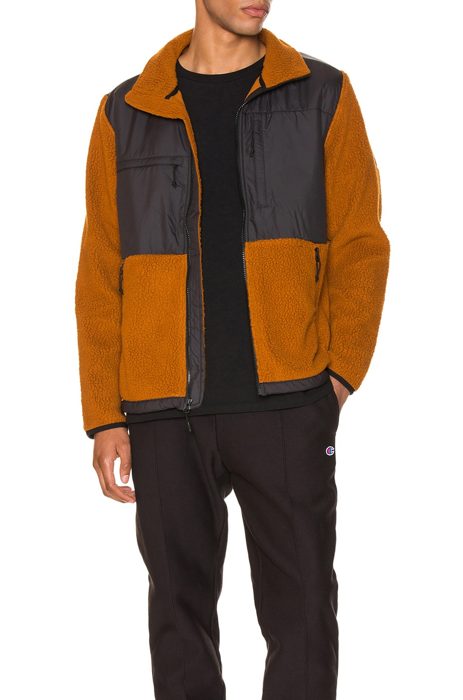 Image 1 of The North Face Black Box Denali Fleece Jacket in Caramel Cafe & TNF Black