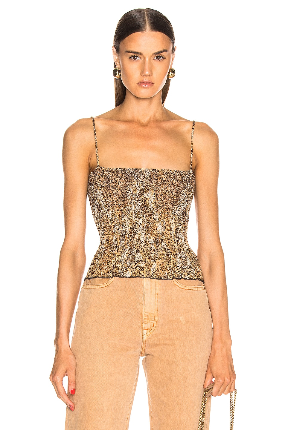 Image 1 of Nanushka Matea Top in Brown Snake
