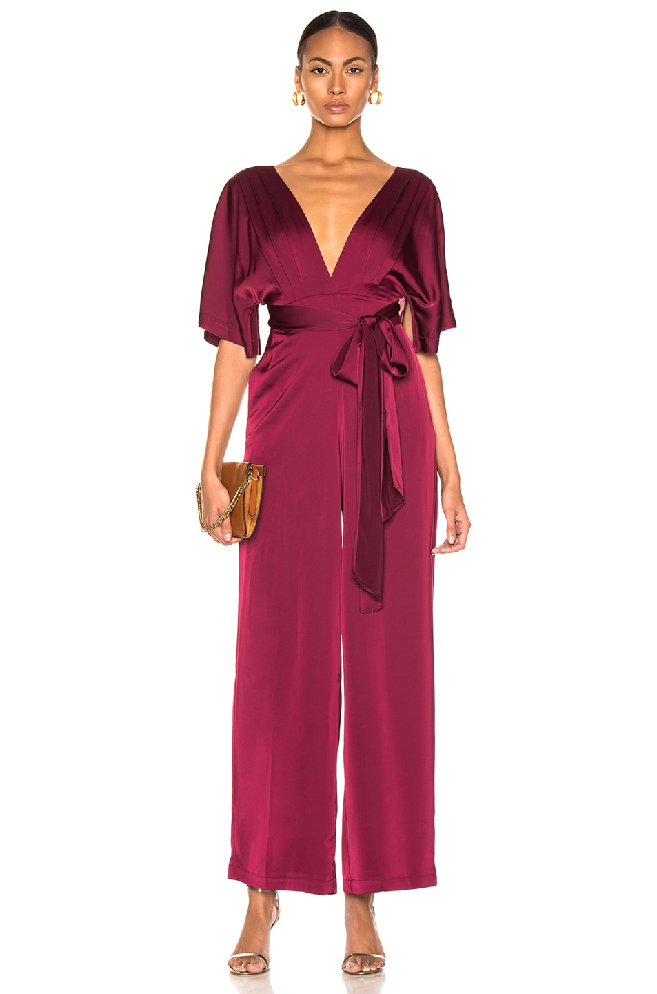 Image 1 of NICHOLAS Satin Wrap Sleeve Jumpsuit in Burgundy