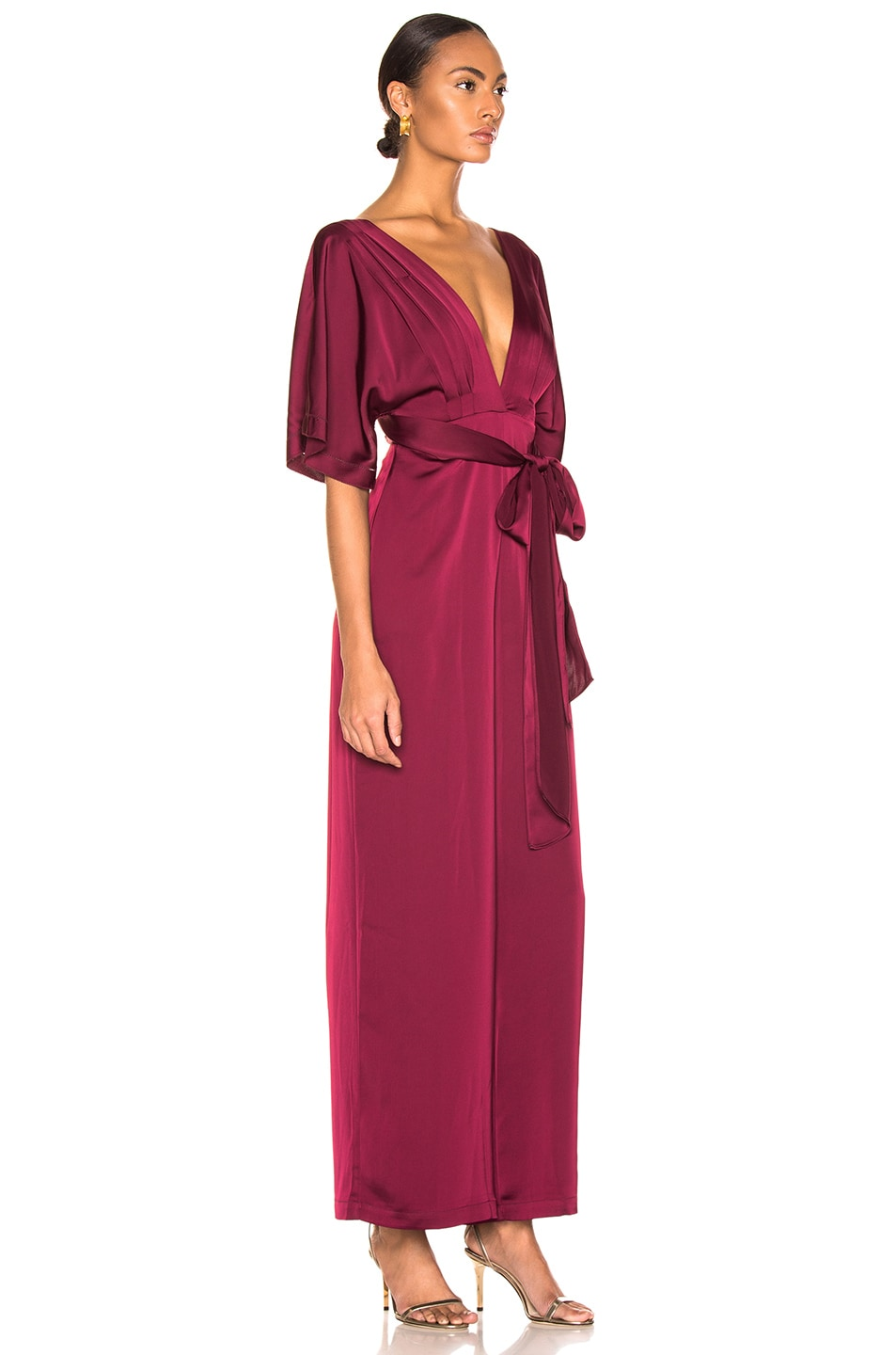 Image 2 of NICHOLAS Satin Wrap Sleeve Jumpsuit in Burgundy
