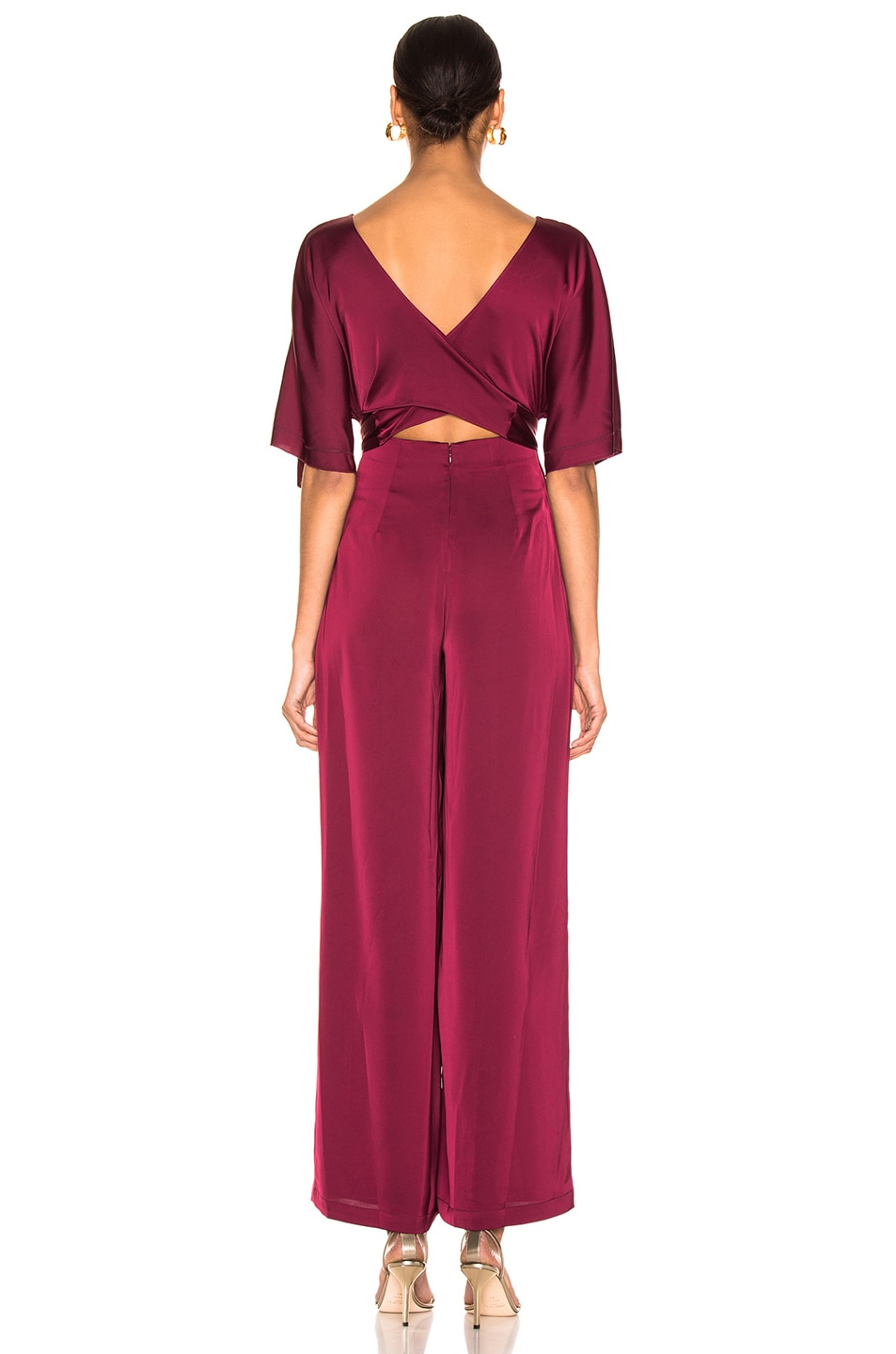 Image 3 of NICHOLAS Satin Wrap Sleeve Jumpsuit in Burgundy