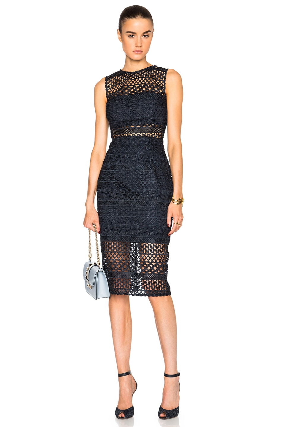 Image 1 of NICHOLAS Braided Lace Fitted Dress in Navy