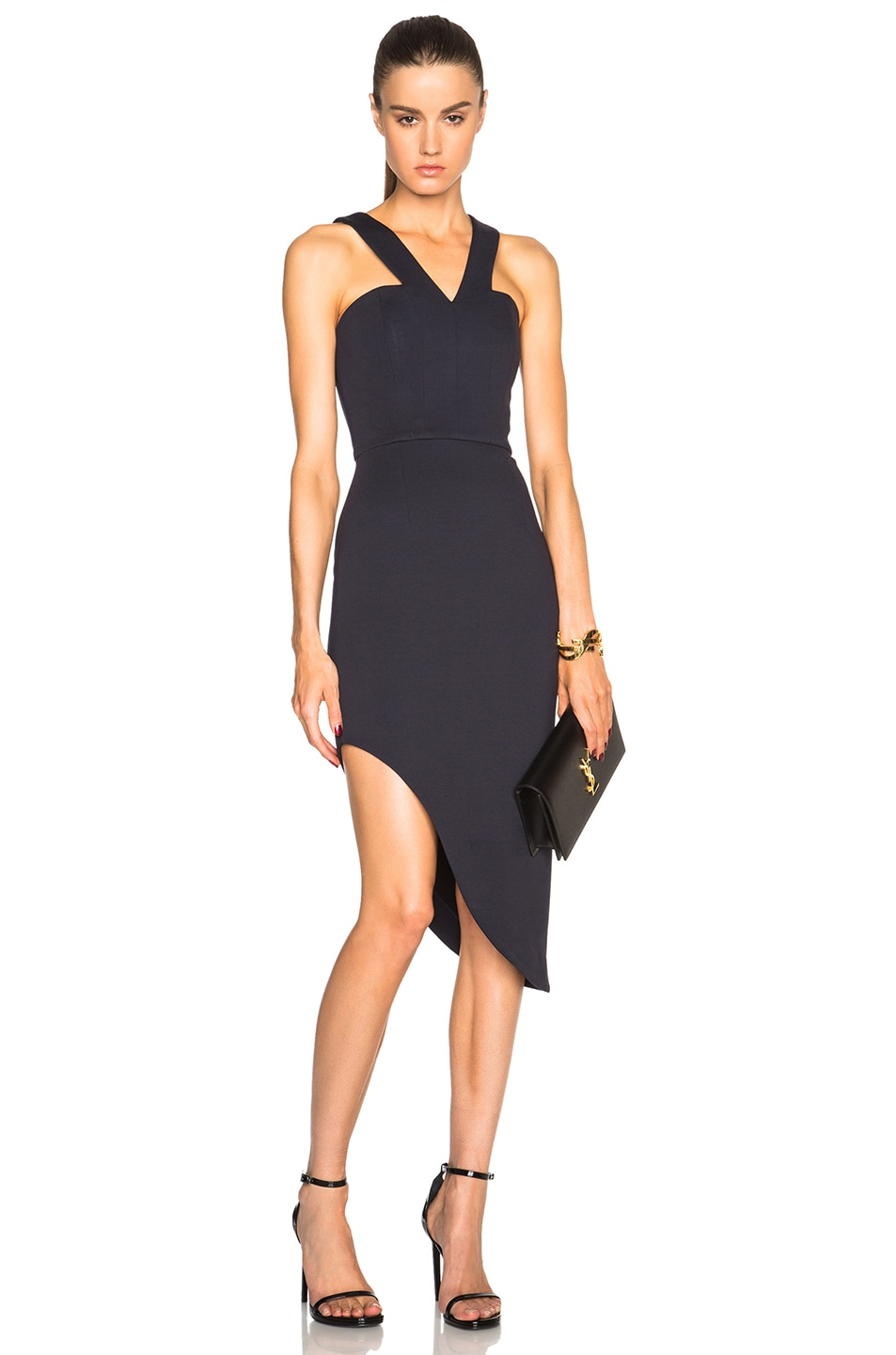 Image 1 of NICHOLAS Side Curve Strap Dress in Navy