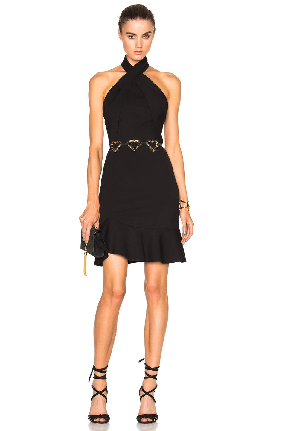 Image 1 of NICHOLAS Asymmetric Ruffle Dress in Black