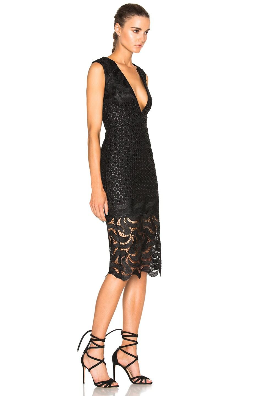 Image 3 Of Nicholas Leaf Lace Deep V Dress In Black