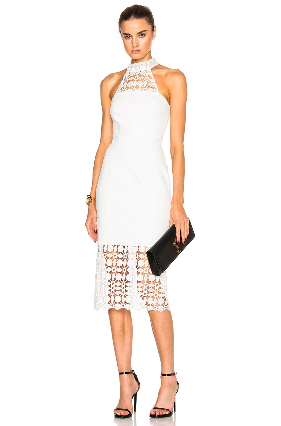 Image 1 of NICHOLAS Mosaic Lace Halter Dress in Ivory